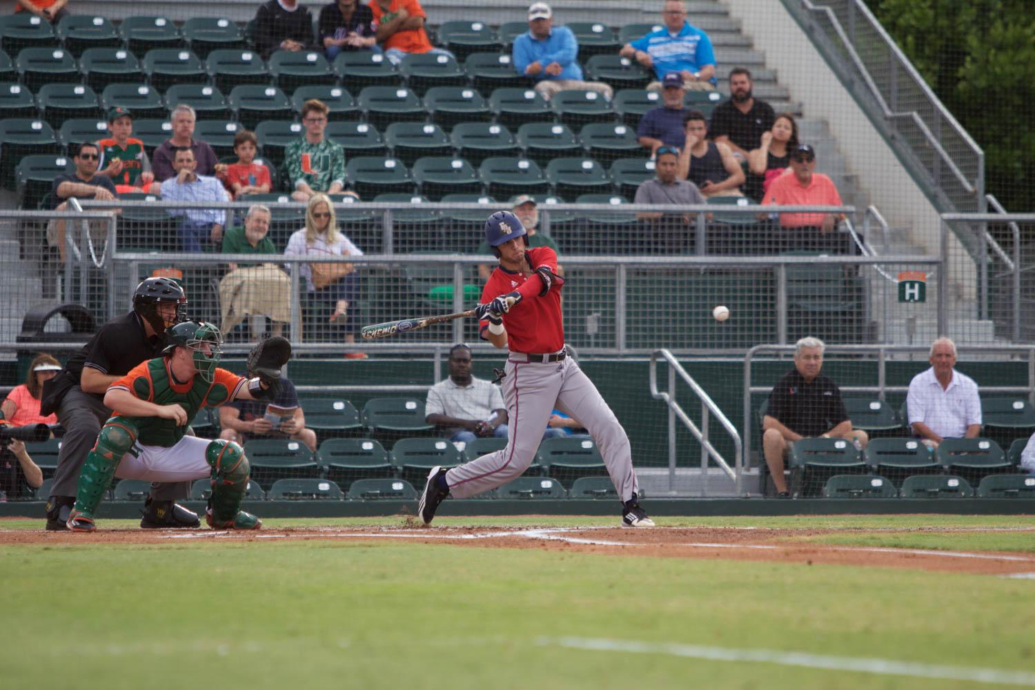 Junior shortstop CJ Chatham takes a swing during the Owls' game versus the No. 1 ranked Miami Hurricanes last Wednesday. Brendan Feeney | Sports Editor