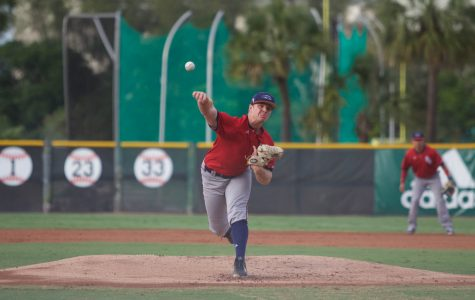 Redshirt sophomore David McKay pitches versus the University of Miami Wednesday. Brendan Feeney | Sports Editor