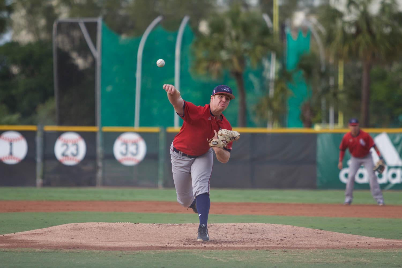 Redshirt sophomore David McKay pitches versus the University of Miami Wednesday. Brendan Feeney | Sports Editor