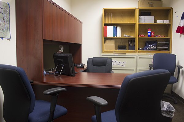 """The office of the Student Government Elections Board remains vacant most of the time, as the chair of the board lives on FAU's Jupiter campus. Ryan Klimar, the marketing director for the Elections Board, has been frustrated with Gregory Barber's absence, and thinks it has to do with him being a Jupiter student: """"He's not in Boca, he's not where the action happens. The representation of Broward and Jupiter towards FAU is important, … but when you're choosing university-wide leadership positions, they need to be centered in Boca."""" Photo by Gregory Cox 