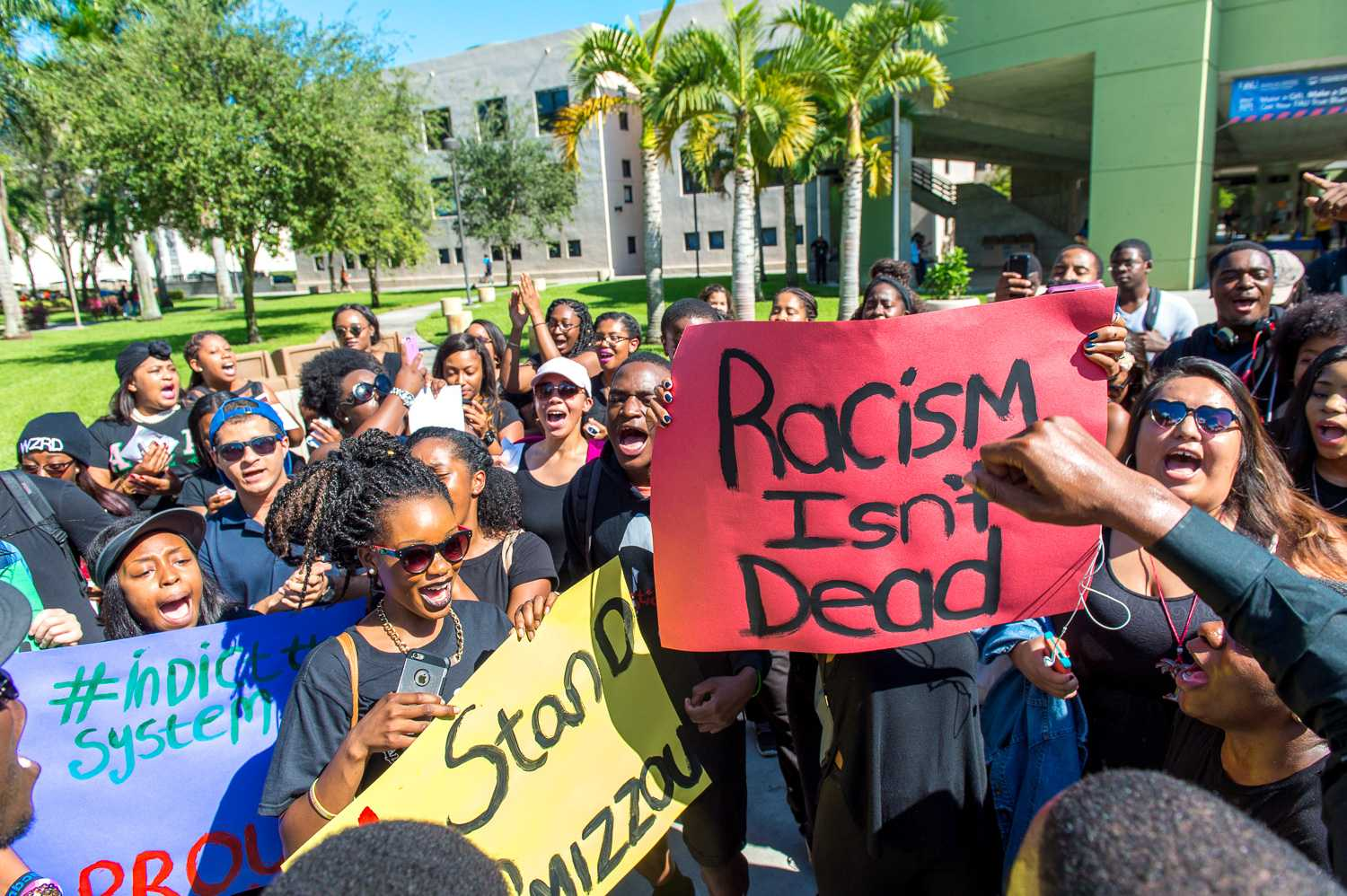Students with FAU's NAACP held a protest on campus last November to support the students at Mizzou. Right now, there are limitations on campus as to where students can and can not protest. Max Jackson | Staff Photographer