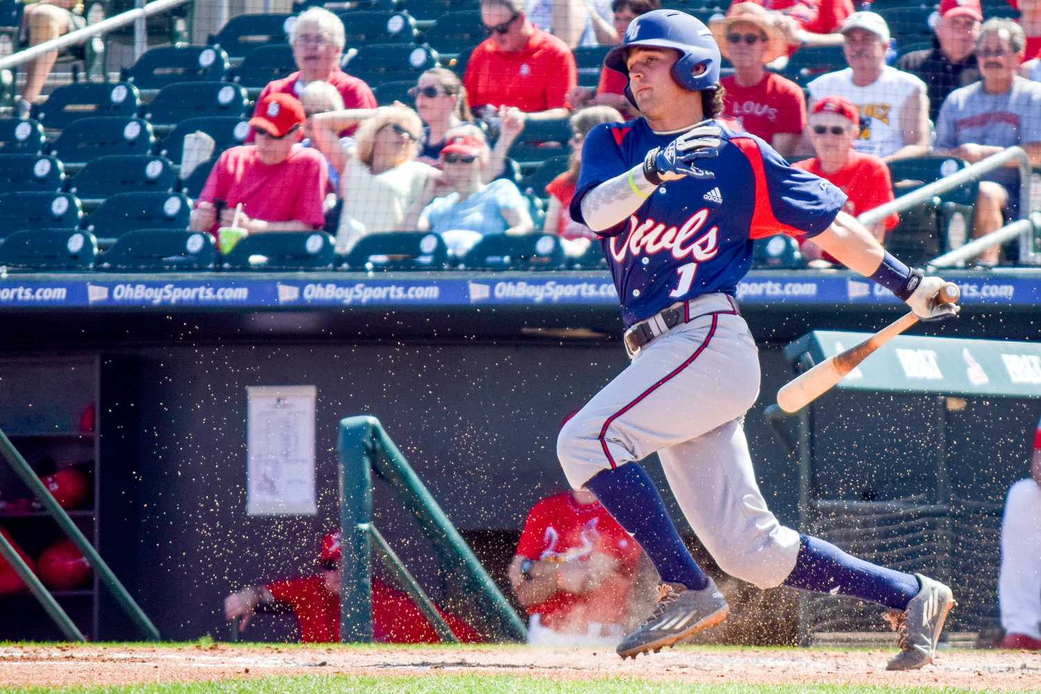 Senior second baseman Stephen Kerr fouls off a pitch during the Owls game versus the Saint Louis Cardinals on March 2, 2016. Ryan Lynch | Outgoing Editor