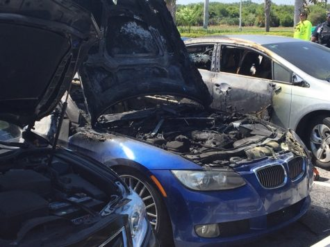 A car was on fire in parking lot 7 on the Boca Raton campus, damaging the other cars near by. Photo by Joe Pye | Staff Reporter