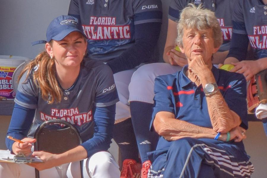 Kylee+Hanson+%28left%29%2C+Joan+Joyce+%28right%29+and+the+FAU+softball+team+are+looking+to+win+their+second+straight+conference+championship+in+2017.+Ryan+Lynch+%7C+Editor+in+Chief