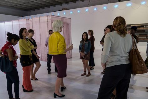 Students touring Miami art gallery. Photo courtesy of Painter's Forum Owl Central page.