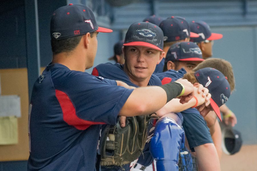 FAU players chat in the dugout during their game Saturday against the University of Southern Missouri.  Ryan Lynch| Multimedia Editor