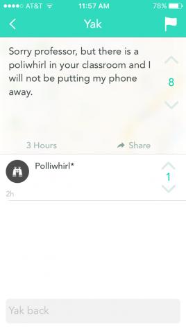 Screenshots from YikYak on FAU's Boca Raton campus, playing Pokémon GO.