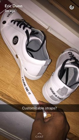 Dunn announced his upcoming sneaker line on his Snapchat with photos and videos of a prototype shoe. The prototype features customizable straps. Dunn ran a poll on Twitter the following day to gauge if followers liked the straps or not. Photo via Dunn's Snapchat.