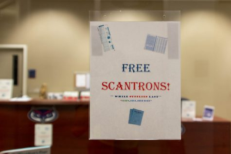 The Student Government office on the second floor of the Student Union os one of several locations on campus with free scantrons for students.