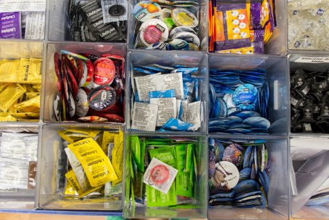 The free condoms in the Owls Care Health Promotion office come in all shapes, sizes and colors Andrew Fraieli | Managing Editor