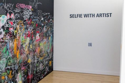 """The Schmidt Center Gallery includes a rotationg schedule of exhibits, including pieces of work such as """"Selfie With Artist"""", by Naghmeh Goodarzi. Andrew Fraieli 