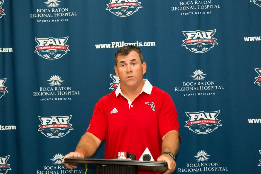 Head+football+coach+Charlie+Partridge+addresses+reporters+during+Florida+Atlantic+football%27s+media+day+Sunday.+Brandon+Harrington+%7C+Staff+Photographer+