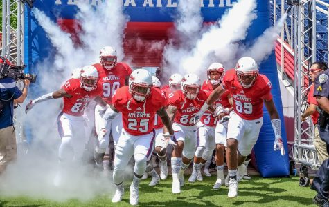 Florida Atlantic Football players enter the field before the start of their game versus Buffalo. Mohammed F. Emran | Staff Photographer