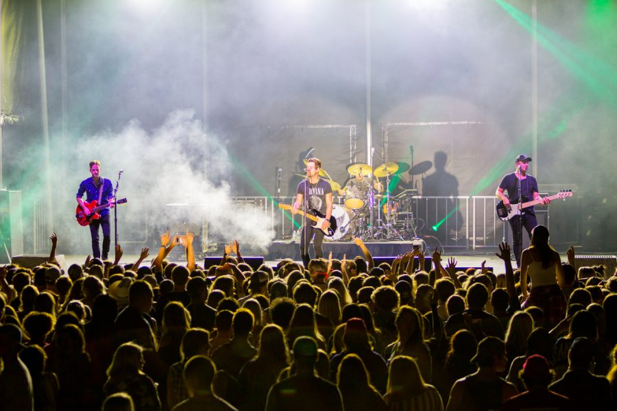 Chase Bryant and his band perform at the start of the Bonfire concert. Andrew Fraieli | Managing Editor