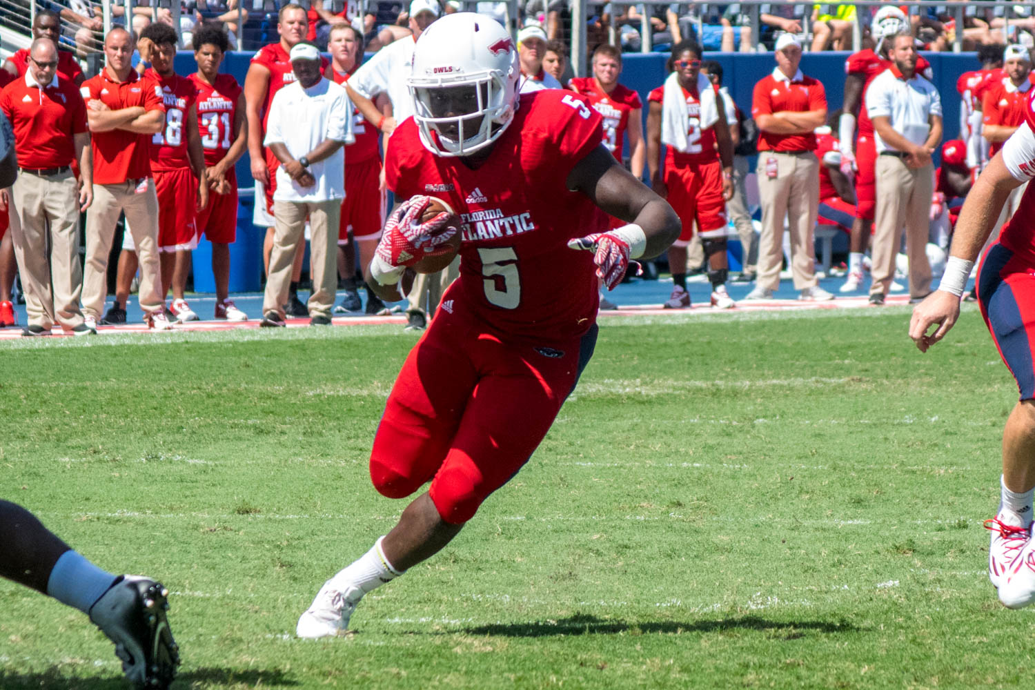 Devin Singletary runs through an open path in the Owls offensive line. The freshman gained 25 total yards on seven rush attempts during the loss.
