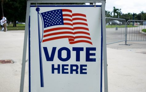 A 'vote here' sign marks FAU Arena as a polling place during Election Day on Nov. 8. Ryan Lynch | Editor in Chief