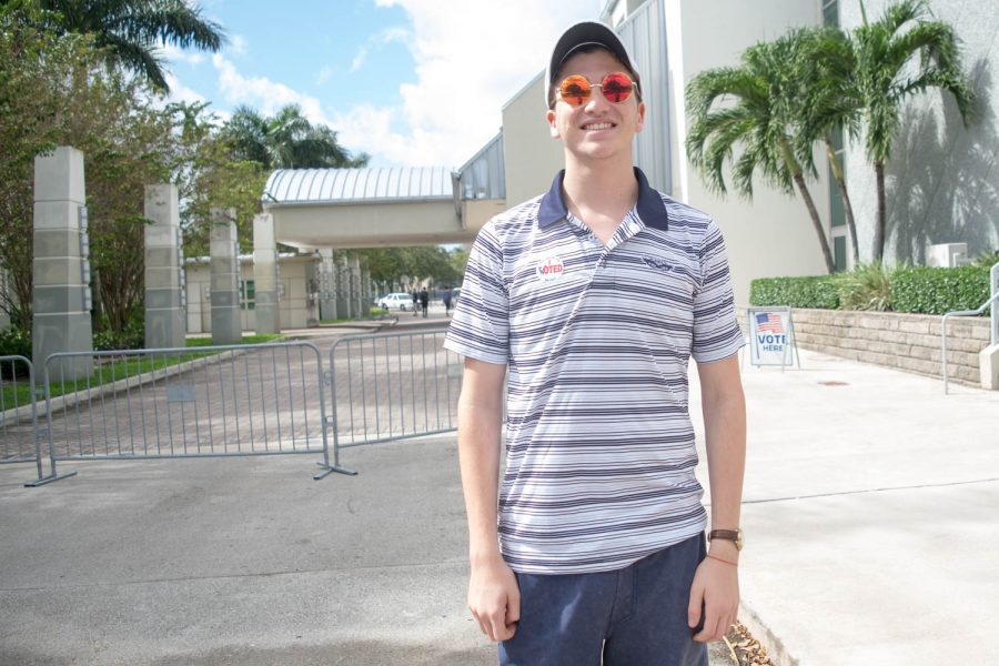 Ben Parlo, a freshman mathematics major, stands outside FAU Arena after voting in his first election. Ryan Lynch | Editor in Chief