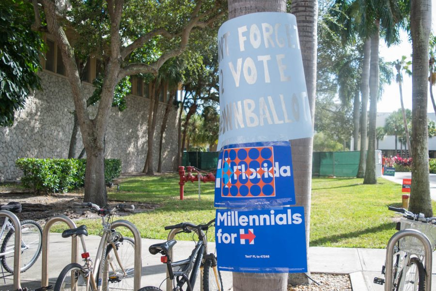 Signs in support of Hillary Clinton remain on a palm tree near the Wimberly Library on Wednesday. Ryan Lynch | Editor in Chief