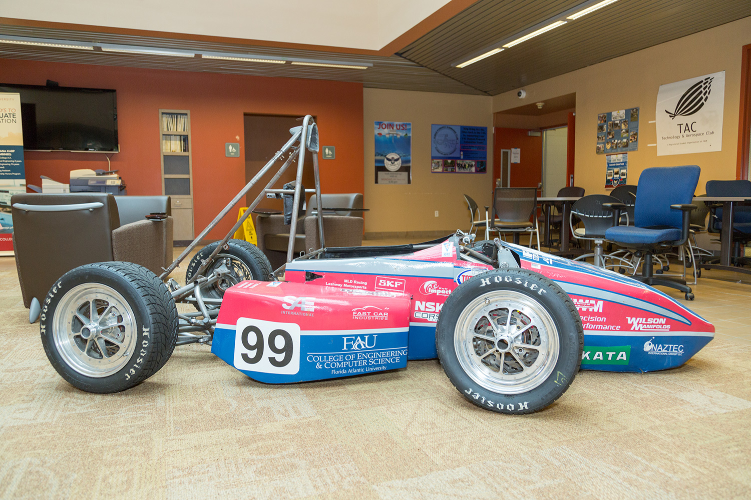 One of the past race cars used by Owl Racing now sits in Engineering West's lobby of the College of Engineering and Conputer Science. Brandon Harrington | Contributing Photographer