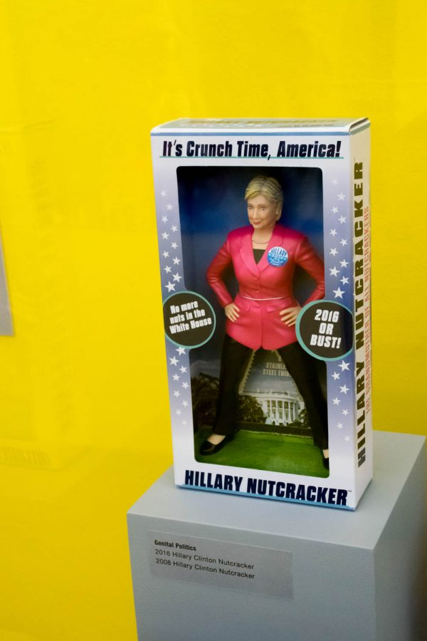 A nutcracker of Democratic nominee Hillary Clinton stands on display at the exhibit. Craig Ries | Contributing Photographer