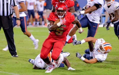 Owls running back Devin Singletary (5) passes multiple UTEP defenders for a first down in last Saturday's victory over UTEP. Mohammed F Emran | Staff Photographer