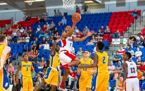 Sophomore Jeantal Cylla finishes a right-handed layup on the left side of the rim in FAU's 88-80 loss to Hofstra. Max Jackson | Staff Photographer
