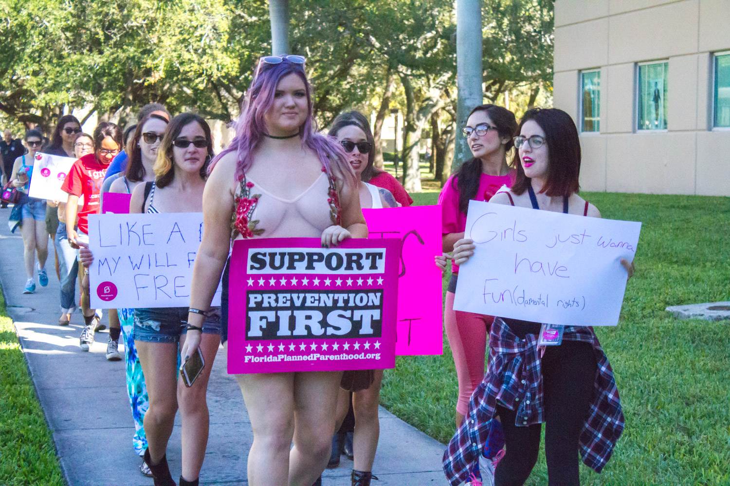 College Democrats Women's Caucus Chair  Sophie Siegel (right) marches with other protestors against rape culture. Joe Pye | News Editor