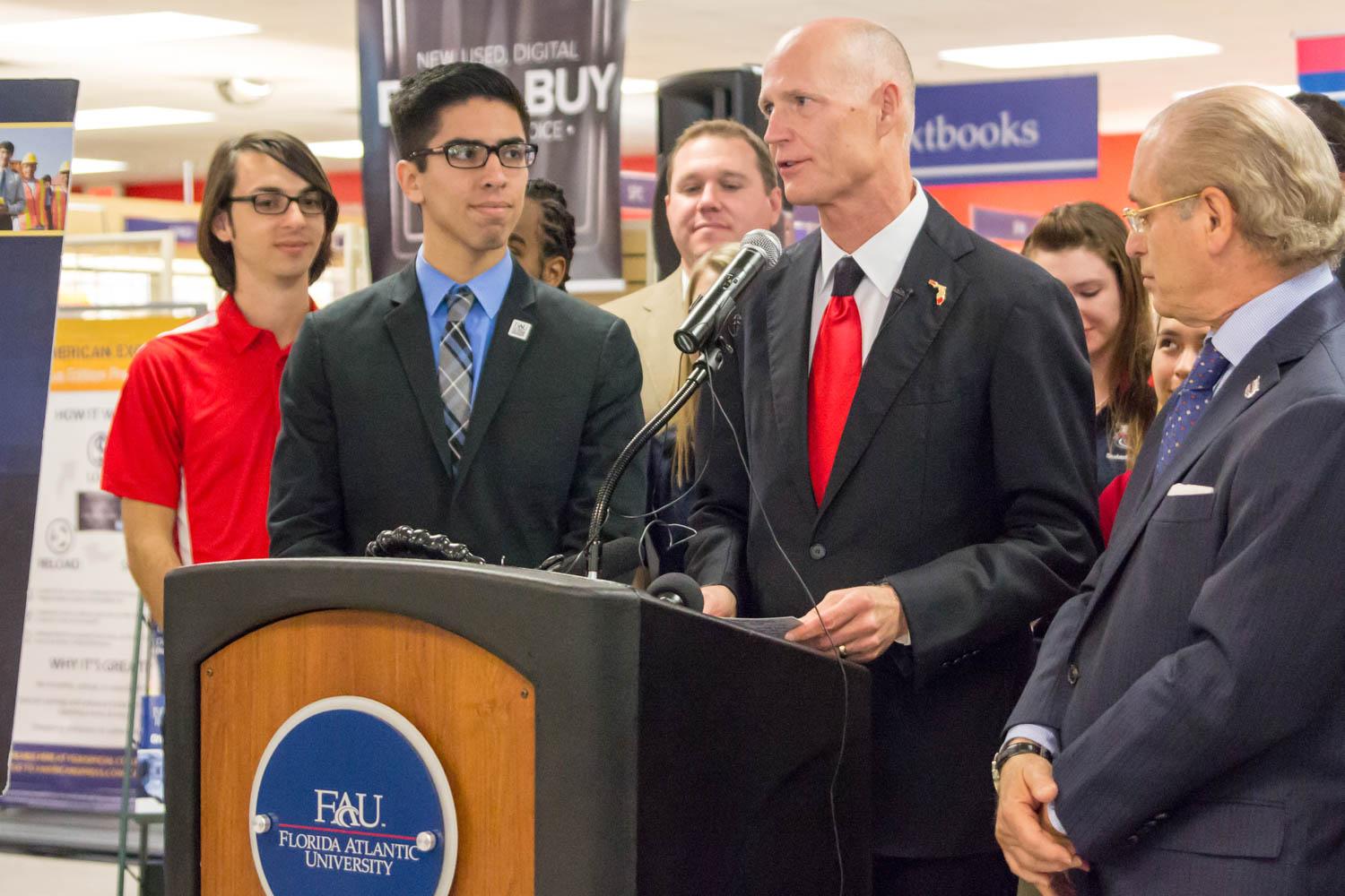 Florida Governor Rick Scott addresses the public in FAU's bookstore on Feb. 12, 2015 about eliminating sales tax on college textbooks. Photo by Idalis Streat.