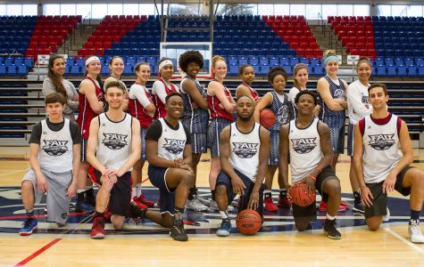 The women's basketball team (back) invites male students from the FAU community to practice with them. Alexander Rodriguez | Contributing Photographer