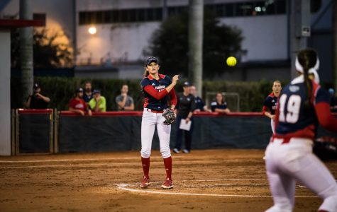 Senior Kylee Hanson tosses the ball over to sophomore first baseman Lauren Whitt in the Owls 1-0 victory over North Florida. Hanson stuck out 10 batters in her fist win of the season. Alexander Rodriguez | Contributing Photographer