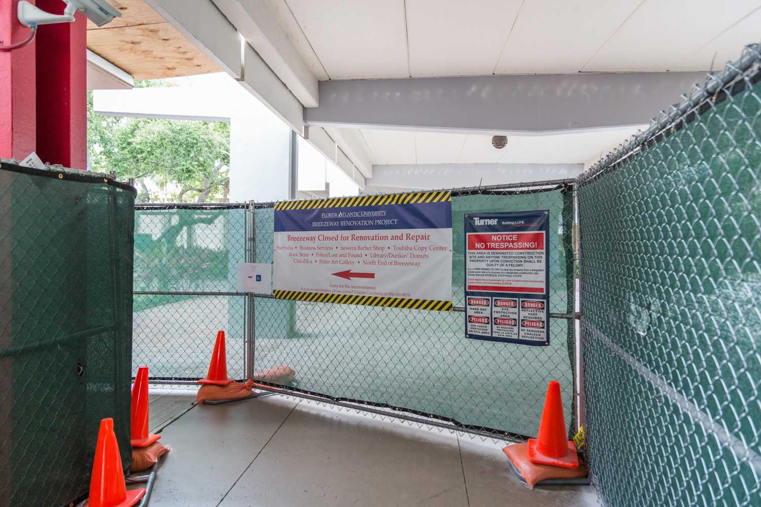 The end date of Breezeway construction has been pushed due to water damage found during work. Brandon Harrington | Contributing Photographer