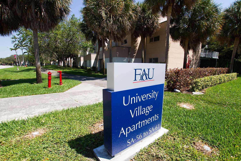 Front entrance sign to University Village Apartments. Alexander Rodriguez | Contributing Photographer