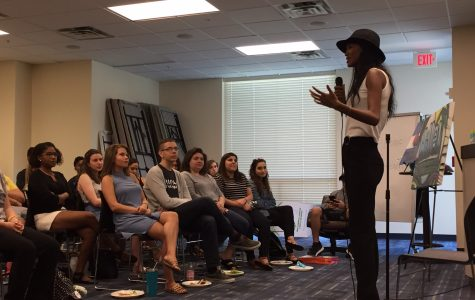 Yityish Aynaw speaks to students, staff and guests at the Hillel of Broward and Palm Beach on the Boca campus on March 22. Photo courtesy of Or Greenwald.