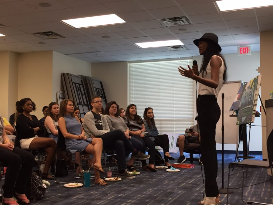 Yityish+Aynaw+speaks+to+students%2C+staff+and+guests+at+the+Hillel+of+Broward+and+Palm+Beach+on+the+Boca+campus+on+March+22.+Photo+courtesy+of+Or+Greenwald.+