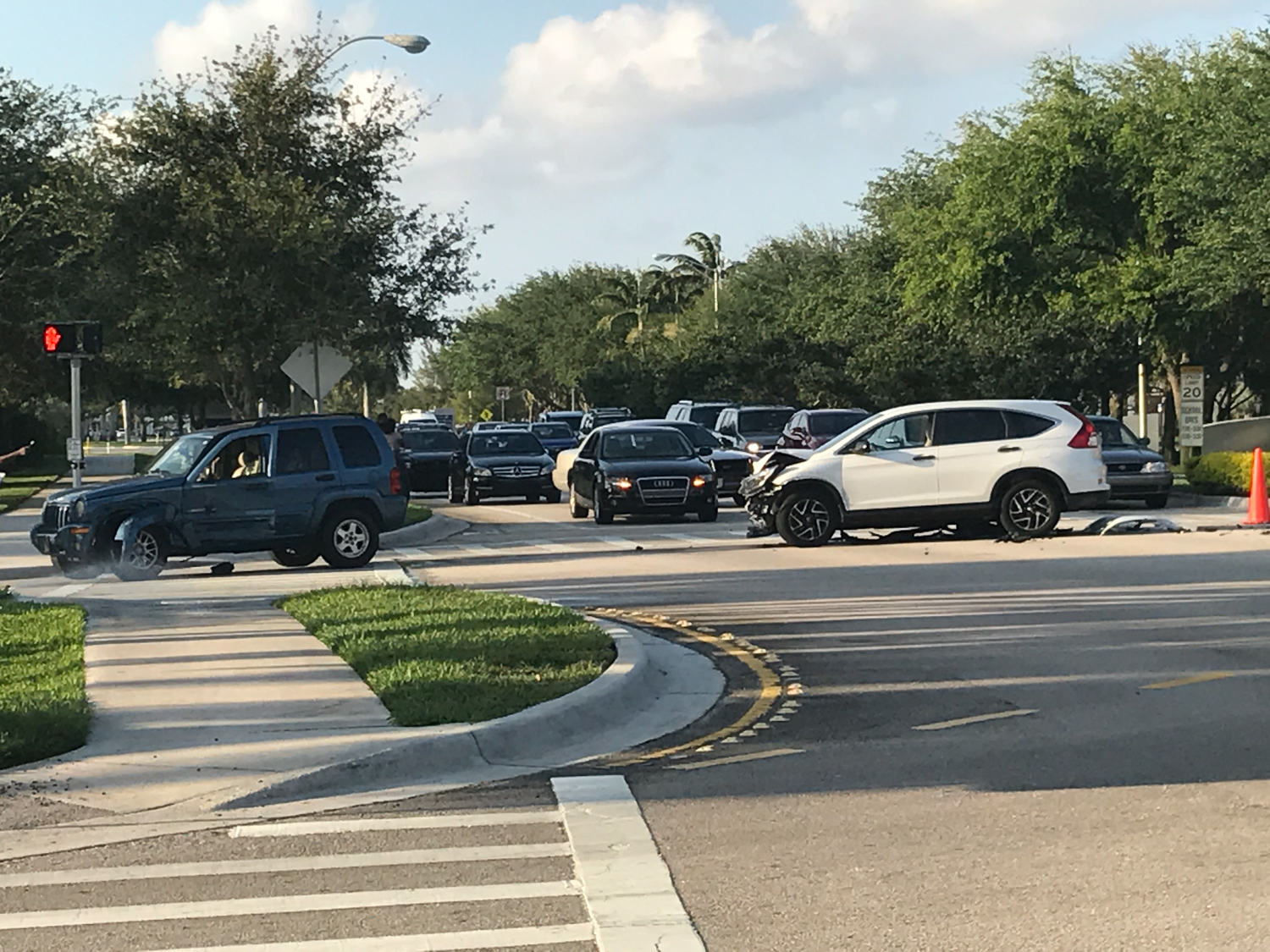 A two-car accident at the intersection of 20th Street and University Drive closed all but one lane of the southbound road. Ryan Lynch | Editor in Chief