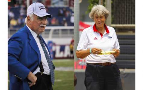 Coaches Howard Schnellenberger and Joan Joyce join six others in the class of 2019 FAU Athletics Hall of Fame. Photos respectively by Michelle Friswell and Alexander Rodriguez