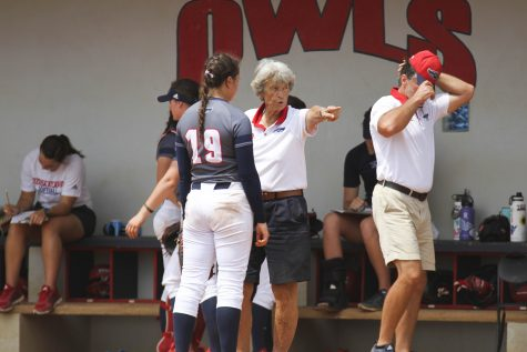 Coach Joan Joyce talks with sophomore Lauren Whitt (19) during a timeout inn the Owls April 14 game versus the University of North Florida. Alexander Rodriguez | Contributing Photographer