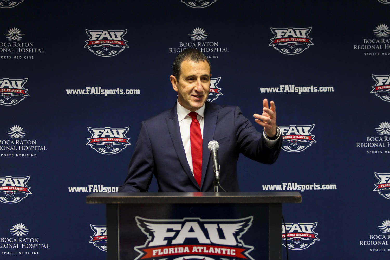 New women's basketball head coach Jim Jabir speaks at his introductory press conference on April 6.  Alexander Rodriguez | Contributing Photographer