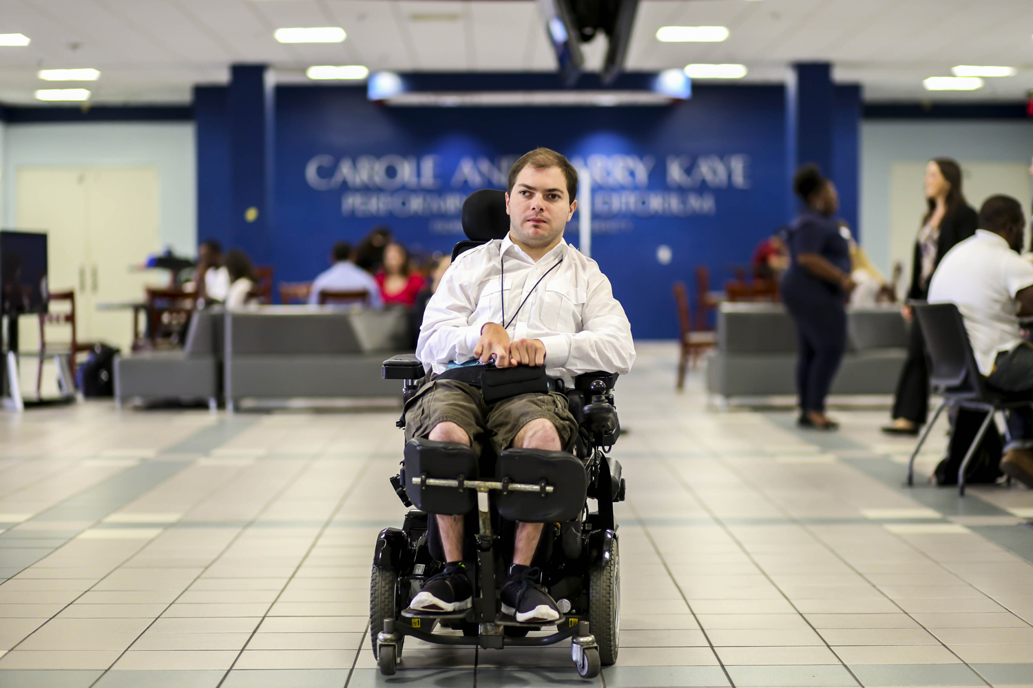 The wheelchair specialized for Garrett Mayersohn allows him to have access to the Student Union. Alexander Rodriguez | Contributing Photographer