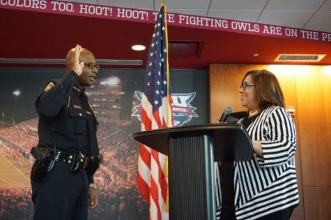 Sean Brammer sworn in as Chief of FAU police by Stacy Volnick Vice President for Administrative Affairs and Chief Administrative Officer on July 26. Photo courtesy of FAU PD