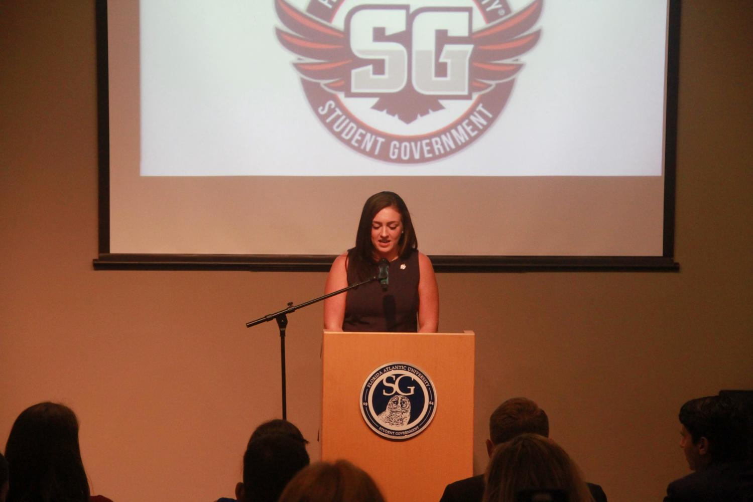 SG President Emily Lawless speaks a crowd of Student Government members, FAU police, and university employees. Joe Pye | Editor in Chief