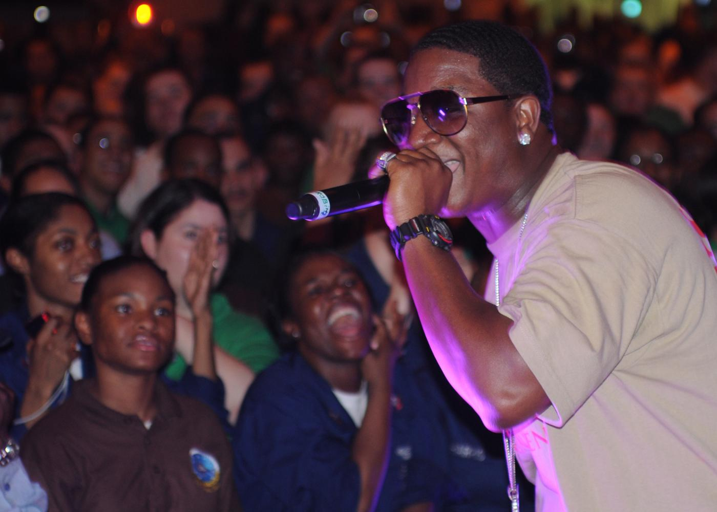Rapper Yung Joc performs on the USS Dwight D. Eisenhower aircraft carrier. Photo courtesy of Wikimedia Commons