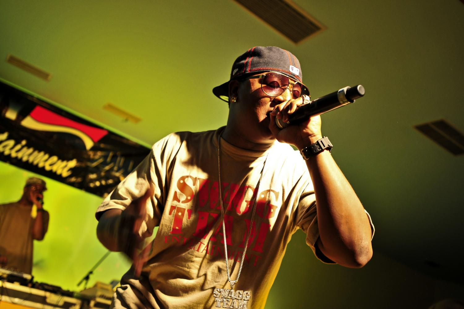 Yung Joc performs for military members at a U.S. naval base in Africa. Photo courtesy of Wikimedia Commons