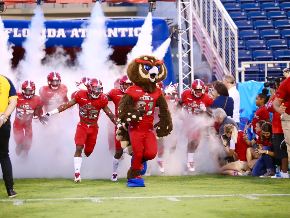 Owlsley leads the Florida Atlantic football team out of the tunnel in Saturday's Conference USA opener against Middle Tennessee. Alexander Rodriguez | Photo Editor
