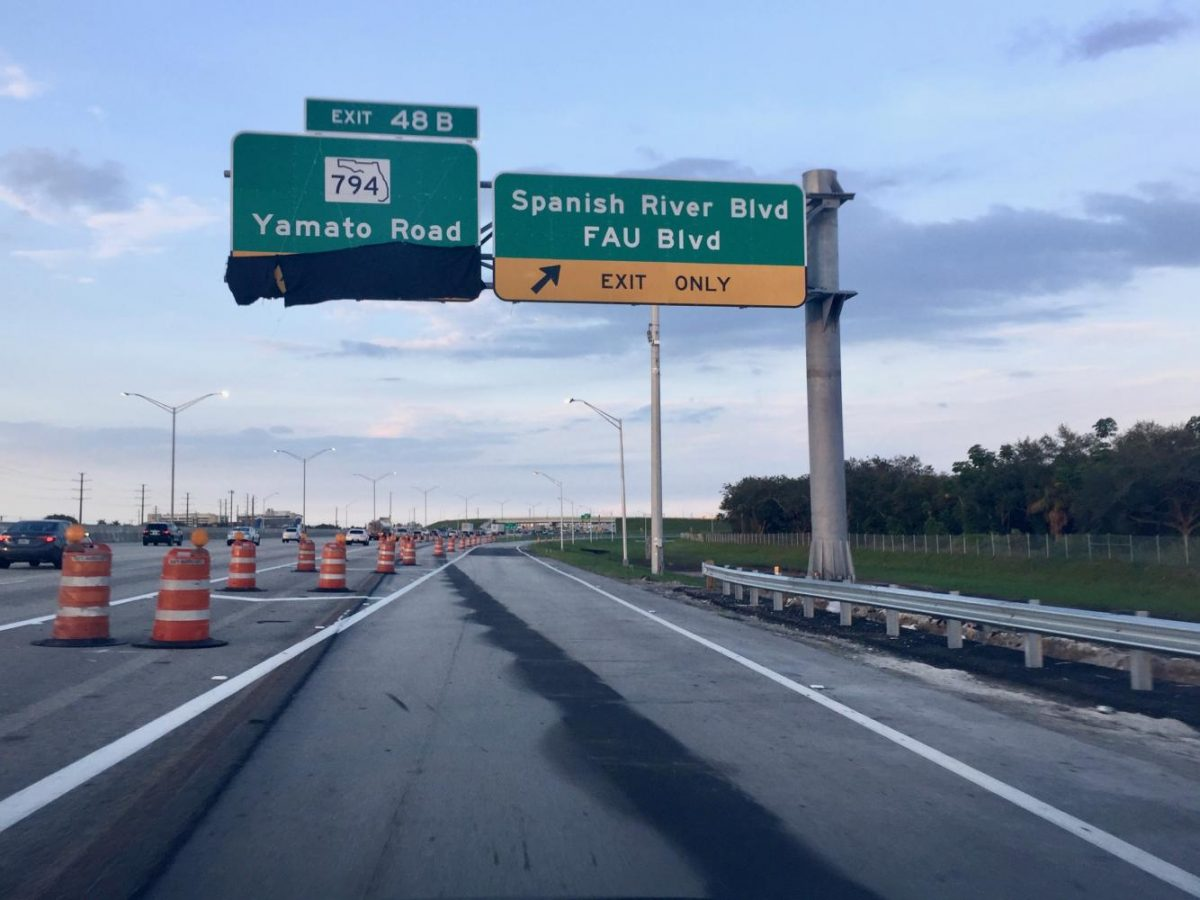 The new I-95 northbound Spanish River Boulevard exit. Katrina Scales | Contributing Writer