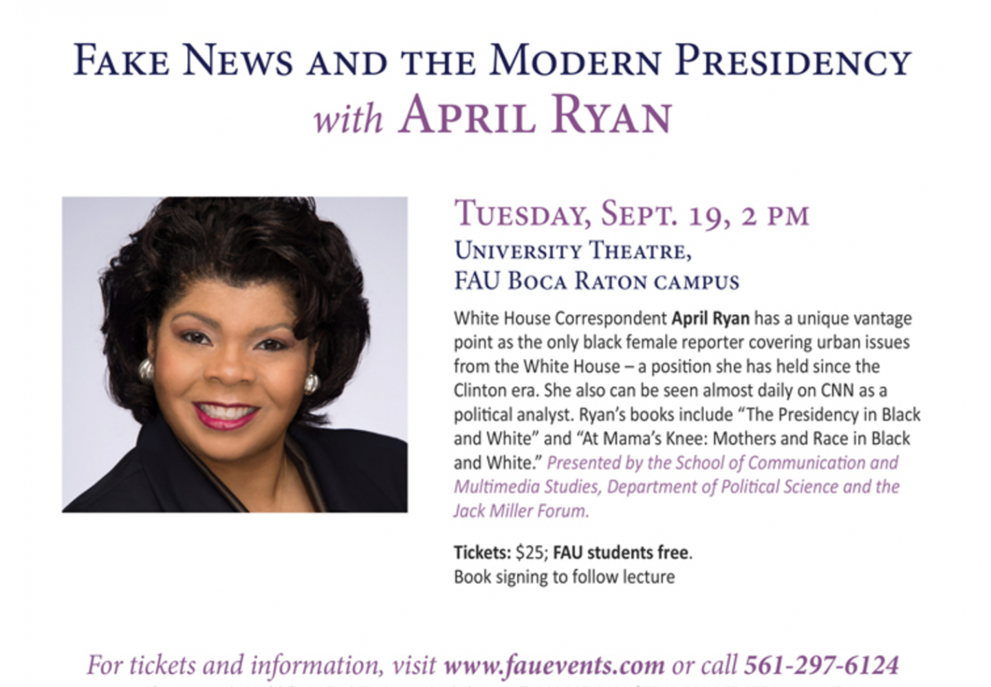 White House correspondent April Ryan will be at FAU this Tuesday. Photo courtesy of FAU College of Arts and Letters