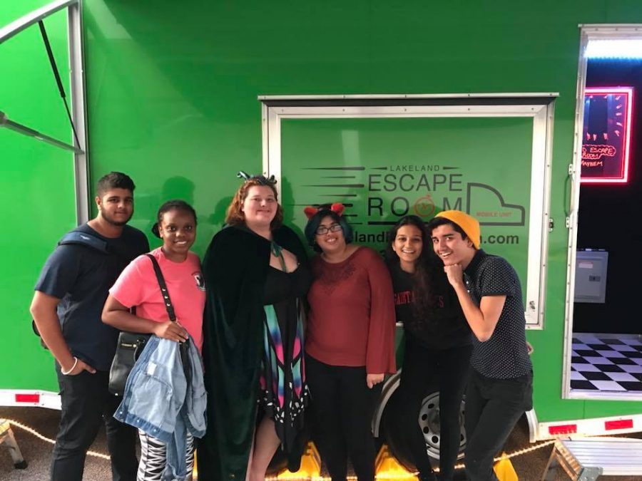 A group of students pose outside of the escape room. Photo courtesy of Lakeland Escape Room Facebook