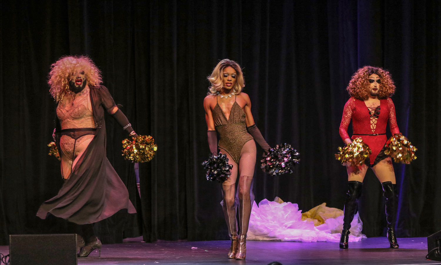 Drag queens from the Haus of Ungodly, a drag queen group, perform before the show. Joshua Giron | Staff Photographer