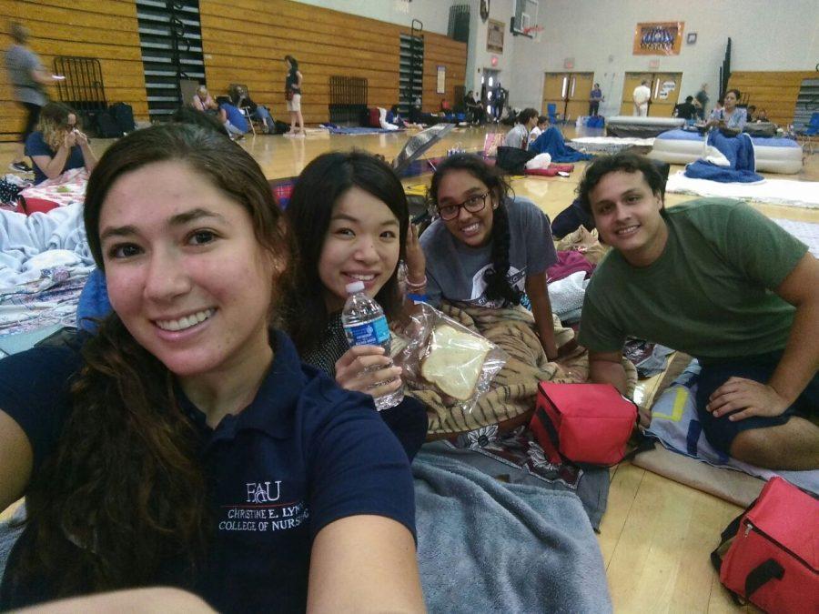 Students+snap+a+photo+together+at+the+hurricane+shelter.++Photo+courtesy+of+Alvaro+Valarezo