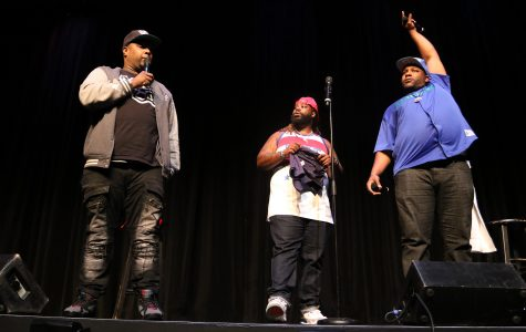 "(Left to right) Rip Micheals, Darren ""Big Baby"" Brand and Nate Jackson from MTV's show Wild 'n Out came out on stage to introduce themselves on Sunday night Wild'N on Campus homecoming comedy show. Photo by Joshua Giron"